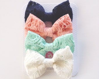 Mya- Lace bow Choose Color, Size and Style