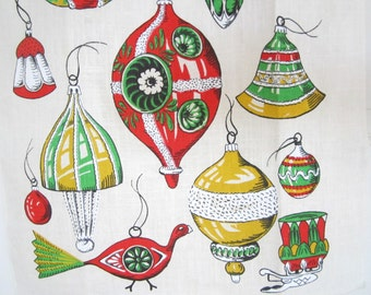 Vintage Christmas Tea Towel Ornaments Glass Bird Clip-on