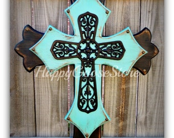 Wall CROSS - Wood Cross - Large - Antiqued Black and Turquoise with large black Iron Cross