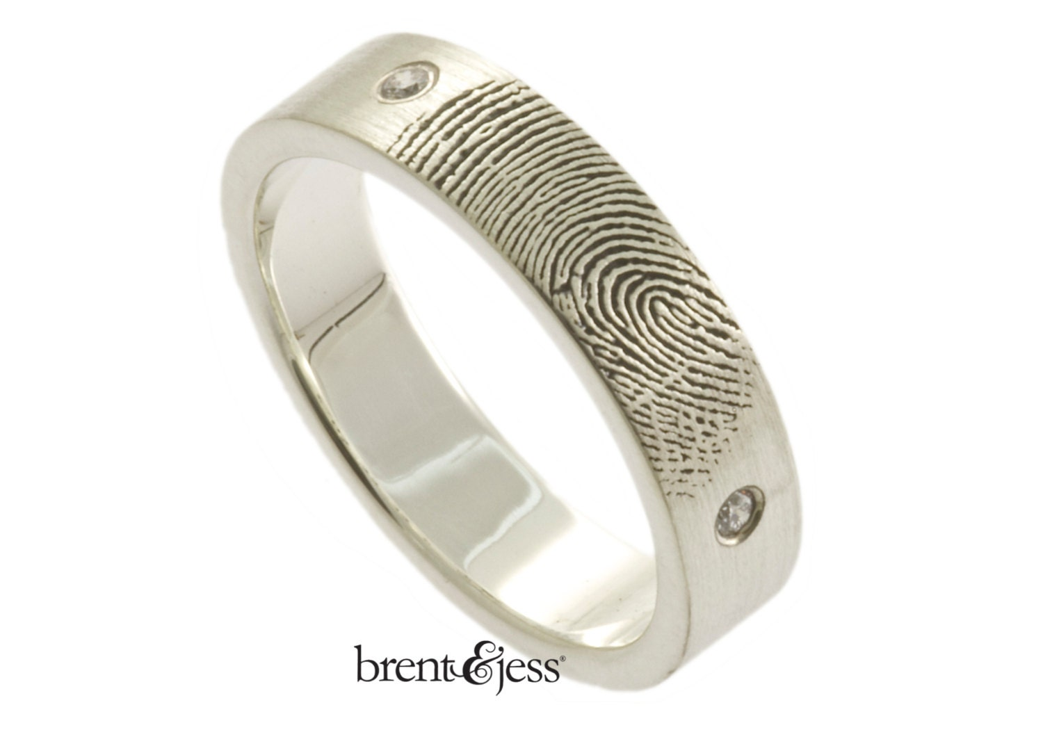 Two Diamond Handcrafted Fingerprint Wedding Band In Sterling