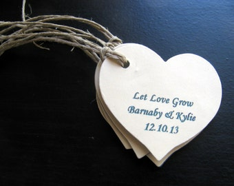 Wedding Favor Navy Blue and Ivory Heart Shaped Plantable Paper Gift Tags Embedded With Wildflower Seeds