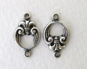 Antiqued Silver Ox Round Fleur De Lis Connector Plated Filigree Finding Link 15mm cnn0062 (6)
