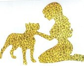 Pitbull and Pin Up Silhouette, Gold Glitter Vinyl Decal