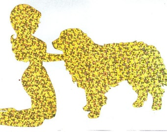 Bernese Mountain Dog and Pin Up Silhouette, Gold Glitter Vinyl Decal