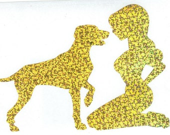 Weimaraner and Pin Up Silhouette, Gold Glitter Vinyl Decal
