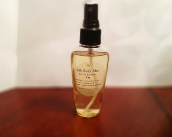 Silk Body Mist, dry oil perfume body spray made with essential oil blends