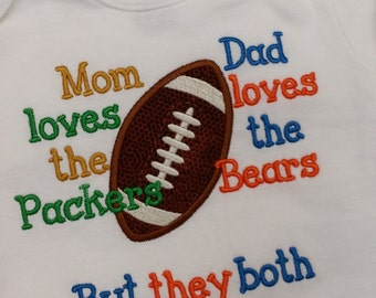 House Divided, Packers Bears t shirt, packers, bears, mom loves packers, dad loves bears, house divided, football shirt. embroidered shirt
