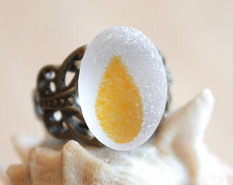 Eco Friendly 100% Recycled One Of A Kind Multi yellow Sea Glass Antique Bronze Ring Size 8 (G1)