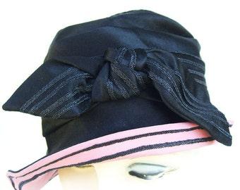 Vintage Black Silk Satin Womens Cloche Hat