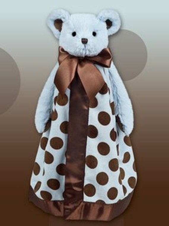 Snuggle Buddy Blue Bear with Brown Polka Dots with Personalized Embroidery
