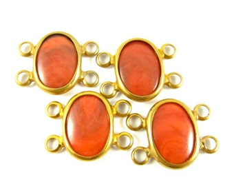 4 - Vintage Oval Connectors with Two Loops at Each End - Dark Coral .