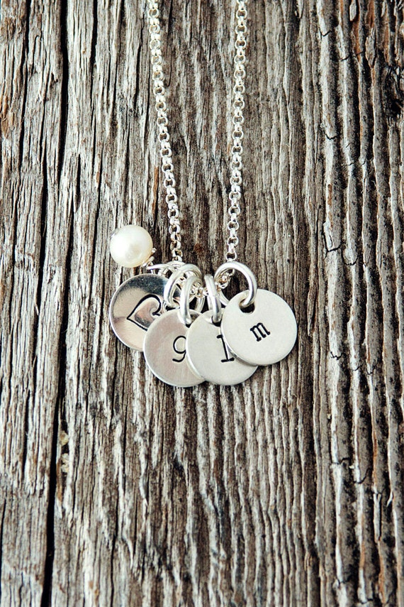 Tiny Initial Necklace, Initial Necklace, Push Present, Personalized Necklaces for Moms, Hand Stamped Sterling Silver Necklace