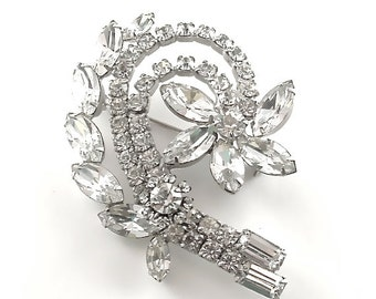 Bridal Jewelry Hollywood Glamour Vintage Rhinestone Costume Jewelry Sparkle Shooting Star Flower Pin