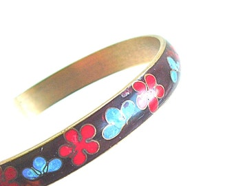 Cloisonne Bangle Bracelet Vintage Two Tone Ombre Red Black with Sky Blue Lotus Flower Blossoms