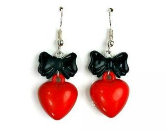 Heart Earrings Black Bow Red Puffy Heart Dangle Earrings Kawaii Jewelry Retro Cartoon Style Girly Jewelry