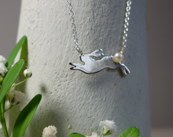 Leaping Sterling Silver Rabbit Necklace