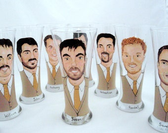 Custom Groomsmen Gifts Personalized Painted Pilsner Beer Glasses (8) Eight Custom Caricatures-Unique Bridal Party Gift