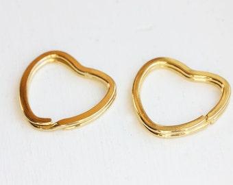 Keychain Heart Gold, Love Keychain Set, Simple Gold Heart, Heart Shape Keychain