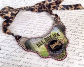 Recycled Founders IPA Beer Statement Necklace with Leopard Ribbon Tie