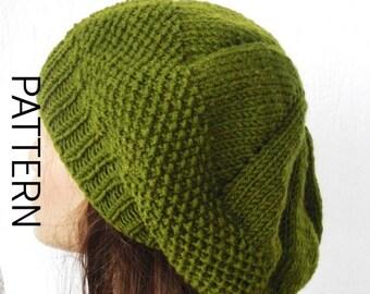 Instant Download Knitting Pattern PDF Knit hat pattern Digital Hat Knitting PATTERN French Beret Pattern Downloadable  winter knitting