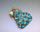 Vintage Turquoise Rhinestone Pear Brooch
