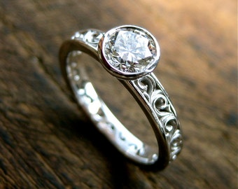 Diamond Engagement Ring in 14K White Gold with Vintage Inspired Scroll Work Size 6