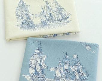 Nautical Marine, Big Vintage Sailing Boats Ocean Sea Travel Map (Choose Color)- Linen Cotton Blended Fabric(1/2 Yard)
