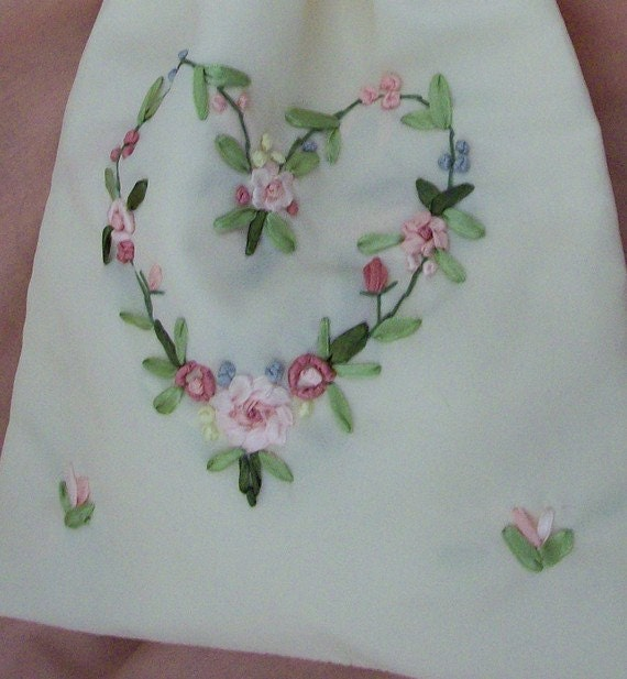 Brides purse money bag envelope holder ivory heart embroidery