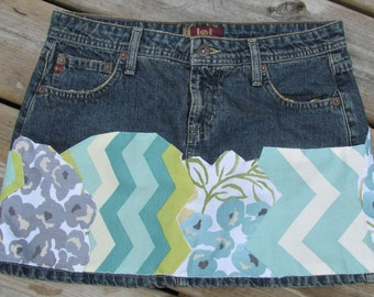 upcycled denim mini skirt crazy quilt chevron aqua lime grey Lei sz 5 hand sewn patches indie style