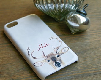 iPhone 6 Case Hello Deer iPhone 5S Case, Christmas Galaxy S6 Case, Antlers iPhone 6 Plus Case Holiday