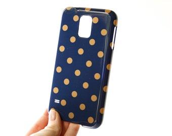 Polkadot Galaxy Case, Navy and Gold Galaxy  Case, Dots Galaxy S6 Edge Case, Galaxy  Case, Polkadot Galaxy  Mini Case