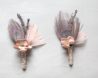 Purple Silver Peacock Feather and Lavender Boutonniere
