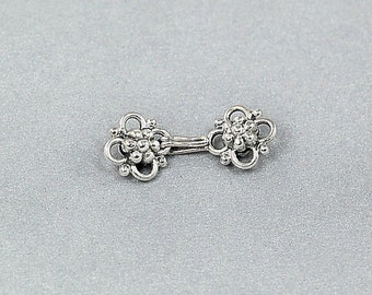 Sterling Silver Hook Clasp - Daisy Flower Clasp