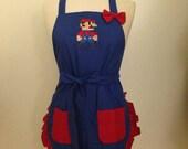 Mario or Luigi Embroidered Apron