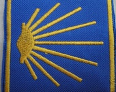 Camino  De Santiago Badge Patch in blue and yellow sew on or glue on to back pack