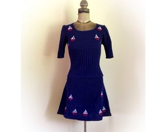 Vintage 1970s Navy Blue Knit Top and Skirt Set with Embroidered Sail Boats Starlight Trading INC