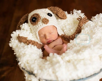 Patch the Puppy Newborn Earflap Hat - Photography Prop