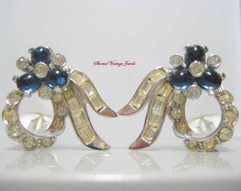 Pennino Earrings Sapphire and Diamond Rhinestones Floral Design Rare Vintage