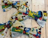 Vintage Retro Mickey Mouse Disney Fabric Hair Bow, Girls Hairbow, Bow Tie