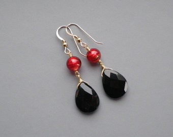 Black Onyx Red Murano Gold Earrings