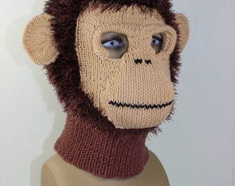 Instant Digital File PDF Download -Toddler Child and Adult  Monkey Mask Balaclava knitting pattern by madmonkeyknits