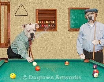 The Hustler, large original photograph of American bulldog and boxer dog playing pool like dogs playing poker