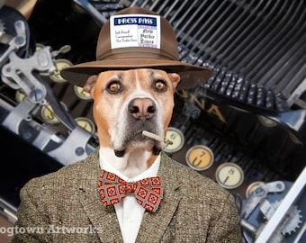 Meet the Press, large original photograph of reporter journalist boxer dog wearing vintage fedora, tweed jacket and smoking cigarette