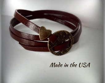 Leather triple wrap bracelet, Friendship bracelet, Wrap bracelet, Charm bracelet