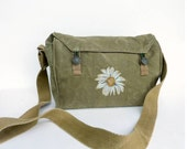 Grunge Daisy Vintage Military Messenger Bag / Purse.  Hand Painted