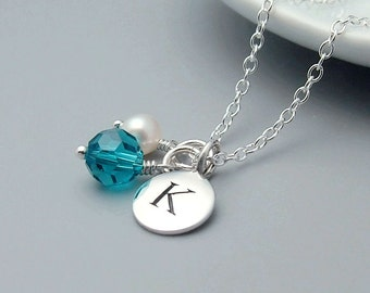 Custom Initial Necklace, Birthstone Necklace with Blue Zircon Crystal, December Birthstone, sterling silver