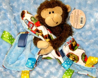 Free Personalization! Super soft minky fleece lovey with attached plush monkey toy, unique saffari baby lovie, security blanket lovy