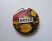 Smile collage pinback badge from vintage magazines 1-inch/25mm