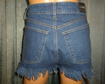 "Vintage 80's - Dark Wash - Denim - Jean - High Waist - Hillbilly Hoedown - Fringed - Cut Off - Short - Shorts (28"" to 30"" waist)"