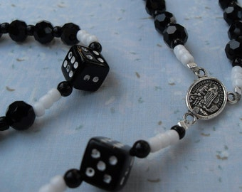 Dice Rosary Black and White Faceted Czech Crystal Beads Silver Middle Medal and Crucifix Custom